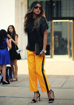 Jules from Sincerely Jules wearing Michael Kors track pants. New York City, September 2013
