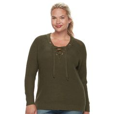 Juniors' Plus Size It's Our Time Lace-Up Sweater, Teens, Size: 1XL, Dark Green