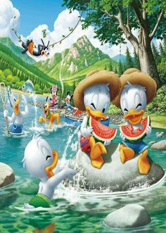 Disney - Mickey & Friends spending the day by the river Disney Pixar, Baby Disney Characters, Disney Cartoons, Disney Mickey, Disney Art, Mickey Mouse Kunst, Mickey Mouse Cartoon, Mickey Mouse And Friends, Disney Babys