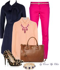 """Work Wear OOTD: Ushering Spring with Soft Coral, Fuschia and Deep Blue"" by cover-up-chic on Polyvore"