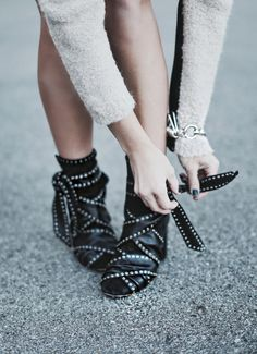 Mary Seng is wearing a leather ankle boots from Isabel Marant