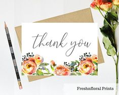 Floral thank you card Printable thank you card Baby shower Bridal Shower Cards, Baby Shower Cards, Wedding Stationery, Wedding Invitations, Printable Thank You Cards, Writing Paper, Gift Packaging, Anniversary Cards, Making Ideas