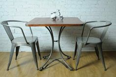 Industrial Vintage Square Cafe Table | Lights and Furniture