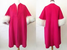 Dreamy 1950's Designer Pink Swing Coat with white by wearitagain