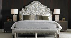 Mr. and Mrs. (Phoebe) Howard for Sherrill Furniture headboard bed bedroom dark walls