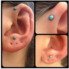 Anti tragus and foward helix piercings...and turquoise!