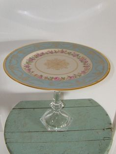 Laurelton Ware Fondeville dinner plate on crystal stand makes for a great DIY cake plate, cupcake plate, etc.