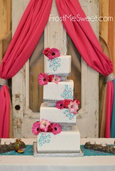 fun square silver pink turquoise country wedding cake Frost Me Sweet