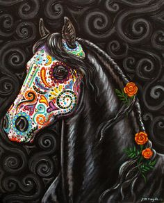Day of the Dead Horse Art PRINT Sugar Skull by gypsymarestudios  Love this! Could be an awesome tattoo in honor of my mom!