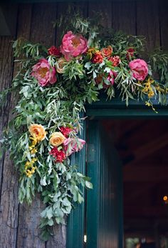 over the door floral swag