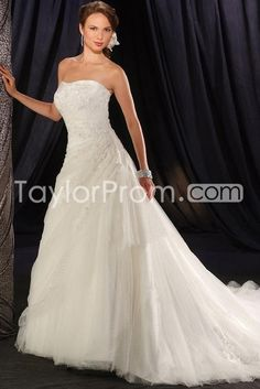 Elegant A-Line/Princess Strapless Sleeveless Floor-length Chapel Bridal Gowns (3AA0431)