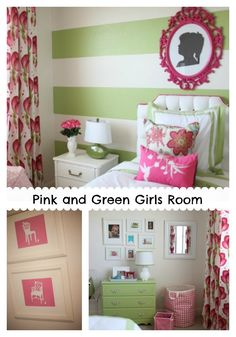 Big happy poppies combine with geometric designs and lovely green and white stripes for an amazingly cheerful Pink and Green Girls Room!