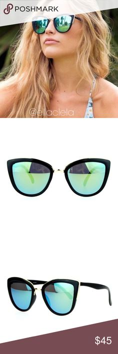 Luxury Cateye Mirror Women Sunglasses Oversized Feel empowered and make a fashion statement by wearing these unique, celebrity style cat eye sunglasses. These lightweight sunglasses are made of durable plastic and have UV protection 400 lenses for the ultimate protection of your eyes. Brand new and High quality. Style: Black Yellow/Green Accessories Sunglasses