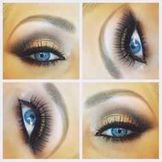 Dramatic metallic gold eye makeup. Makeup for blue eyes. Smokey gold eye. Glitter make up. New Years Eve make up.