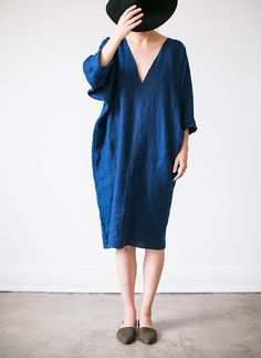 Image of Linen V-Neck Caftan