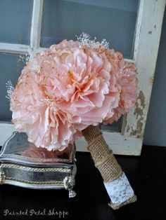 Coffee Filter Bridal Bouquet/ Rustic Wedding Flowers/ Vintage Blush w/ Baby's Breath by PaintedPetalShoppe on Etsy https://www.etsy.com/listing/220979216/coffee-filter-bridal-bouquet-rustic
