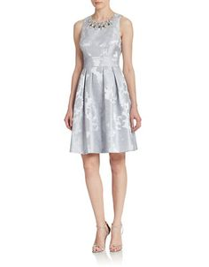 Brands | Dresses | Embellished Jacquard Fit-and-Flare Dress | Lord and Taylor