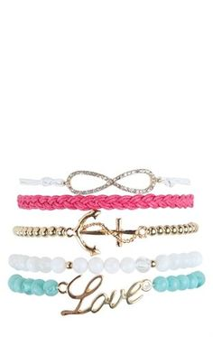Deb Shops Set of 5 Friendship Bracelets with Infinity, Anchor and Love