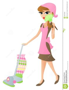Cartoon Cleaning Lady Photo Ocean Services