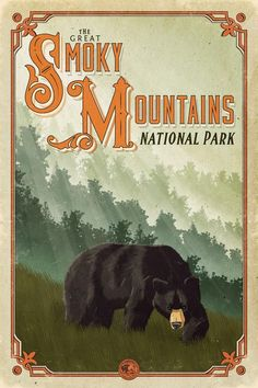 Great Smoky Mountains National Park Poster Informations About Great Smoky Mountains National Park Po Camping Places, Go Camping, Outdoor Camping, Camping Ideas, Great Smoky Mountains, Party Vintage, Wedding Vintage, Voyage Usa, Retro