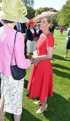 Image result for sophie wessex in red alaia dress at garden party