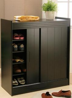 One of the interior furniture we can have for the room decoration is the shoe cabinet with doors. The cabinet for shoe is usually built without any door. The cabinet is Shoe Storage Solutions, Closet Shoe Storage, Shoe Storage Cabinet, Diy Storage, Cabinet Doors, Storage Ideas, Shoe Racks, Shoe Closet, Shoe Shoe
