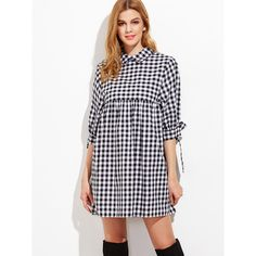SheIn(sheinside) Black And White Gingham Tie Sleeve Babydoll Dress (€18) ❤ liked on Polyvore featuring dresses, bow tie dress, shirt dresses, plaid dress, 3/4 sleeve dress and baby doll dress