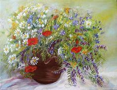 Polne kwiaty - Maria Roszkowska - obraz olejny