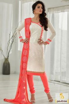 Pink white chanderi cotton salwar suit for women 2016 in India. This lovely casual dress is in very low rate on pavitraa.in online shopping website. This casual dress is very fashionable. #salwarsuit, #casualdress more: http://www.pavitraa.in/store/casual-dress/