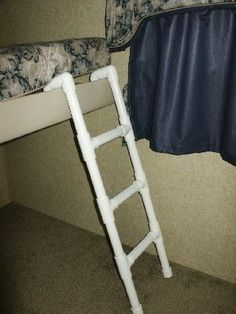 PVC ladder for bunk bed in our camper. No more kids falling down while trying to climb into bed!