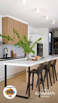 Download the latest Kinsman Kitchens catalogue now Kitchen Island Decor, Kitchen Room Design, Kitchen Benches, Home Decor Kitchen, Kitchen Living, Interior Design Kitchen, New Kitchen, Home Kitchens, Modern Small House Design