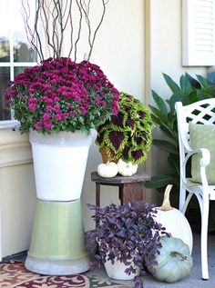 Fresh for Fall - Sage green and aubergine fall porch entry | Better Homes & Gardens