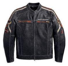 Harley Davidson men's distressed black leather BOULEVARD jacket 97170-13VM 2xl