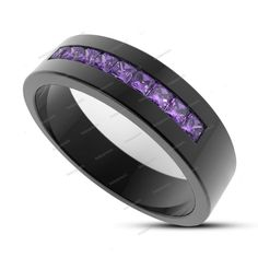 1.42CT. Princess Cut Purple Amethyst 14k Black Gold FN Women's Wedding Band Ring…