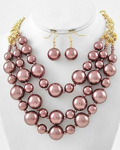 Layered Brown Bead Faux Pearl Chunky Statement Bib Necklace & Earrings Set   eBay