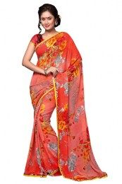 Rust Color Elegant Print Work Georgette Fabric Designer Saree