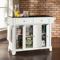 Stainless Steel Top Portable Kitchen Island Cart in White Finish ...