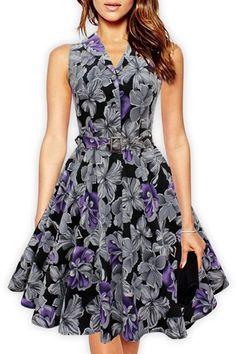 Retro Style Turn-Down Collar Sleeveless Floral Print Dress For Women