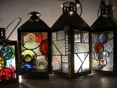 Lanterns on parade Stained Glass Light, Making Stained Glass, Stained Glass Panels, Stained Glass Projects, Stained Glass Patterns, Fused Glass, Glass Lanterns, Glass Dolls, Lantern Candle Holders