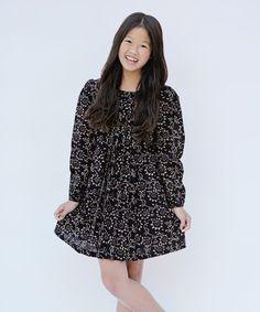 Black Floral Long-Sleeve A-Line Dress - Toddler & Girls