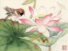"""On the Ancient Pond (c) 2012   6"""" x 8"""" watercolor   SOLD"""