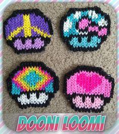Geeky Girly Mario Mushroom Coaster Size Rainbow Loom by DooniLoomi, $14.99