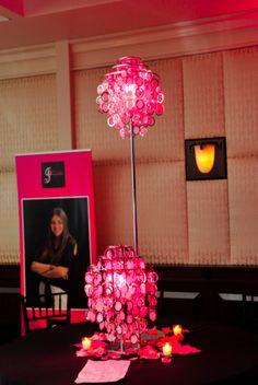 Fun, pink, & crystal Bat Mitzvah centerpieces. | MitzvahMarket.com
