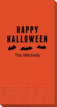Personalized Happy Halloween Bats Guest Towels
