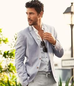 Classic blue and grey dominate this seasons blazers. Easy to wear over a crisp white shirt or why not a casual granddad top? Sharp Dressed Man, Well Dressed Men, Gentleman Mode, Gentleman Style, Stylish Men, Men Casual, Smart Casual, Casual Ootd, Casual Suit