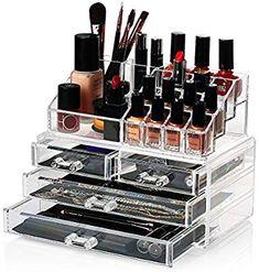 HBF Organizador De Maquillaje Acrílico (4 cajones+16 compartimientos) Caja De Cosméticos Transparente Organizadores para Joyas Pendientes Collar Esmalte De Uñas: Amazon.es: Hogar
