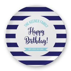 Navy Blue and White Striped Family Birthday Plate, Family Birthday Plate, Children's Birthday Plate
