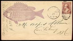 Figural cameo for Brown, Seavey Fish in Boston on vintage envelope (mid-19th century). via Sheaff Ephemera