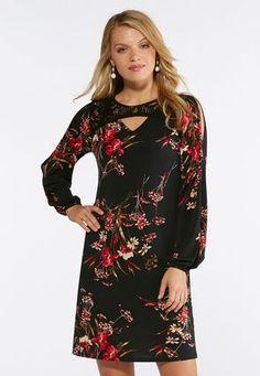 063b874752a Plus Size Split Bell Sleeve Floral Dot Dress Plus Sizes Cato ...