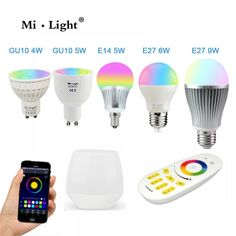 Mi Light Milight Dimmable Bulb Lamp Led Rgbw Rgb Cct Wifi Spotlight China Color Change Dimmable Wi-fi Is Led Night Light, Light Bulb, Wifi, 4g Wireless, White Led Lights, 5 W, Lamp Bases, Led Lamp, Remote